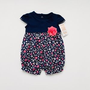 NWT Navy and Pink Floral Romper with Pink Blossom